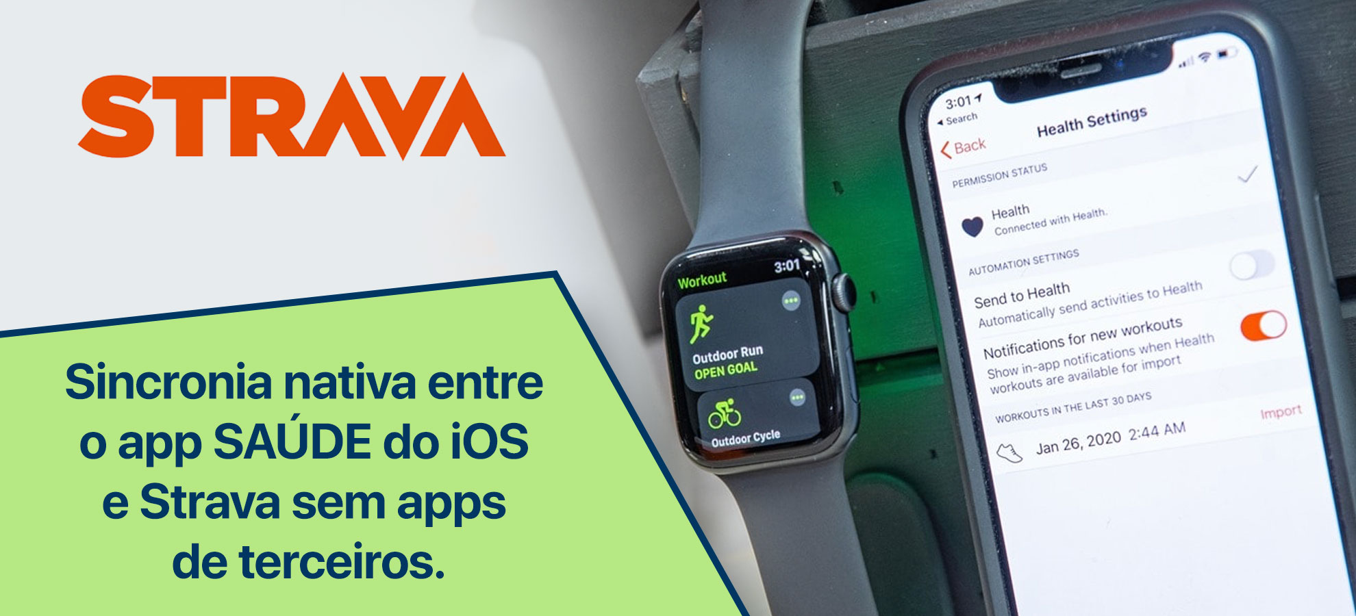 Sincronia nativa entre o app SAÚDE do iOS e Strava sem apps de terceiros